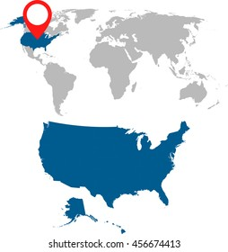 Detailed map of USA and World map navigation set. Flat vector illustration.