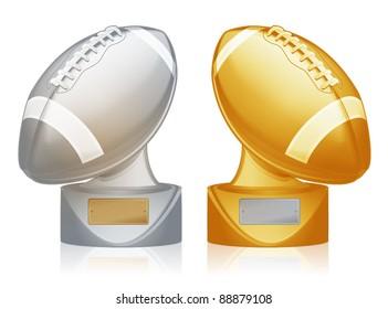 Detailed metallic football trophies/Football trophies