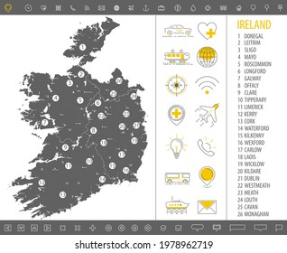 Detailed monochrome map of Ireland, gray country territory with geographic borders and administrative divisions on white background, travel icons set, vector illustration