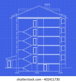 Detailed multi-storey building. Cross-section house. Vector blueprint. Architectural background.