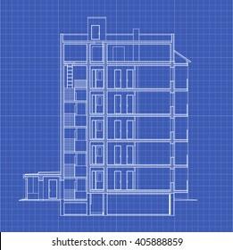 Detailed multi-storey building. Cross-section house. Vector blueprint.