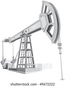 Detailed Oil pump, pumpjack  vector illustrations without gradients