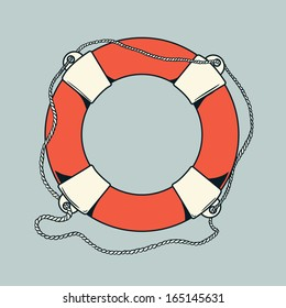 Detailed outlines, colored nautical life buoy isolated on grey background. Ship element. Vector illustration.