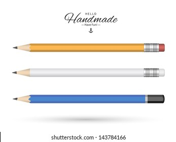 Detailed pencils isolated on white background. Vector Illustration.