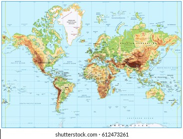 Detailed Physical World Map with labeling. No bathymetry. Vector illustration.