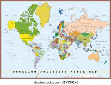 World politics images stock photos vectors shutterstock detailed political world map with capitals and rivers gumiabroncs Choice Image