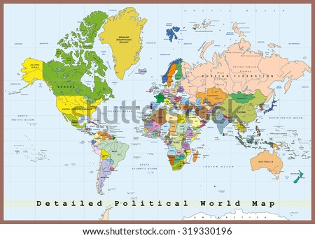 Detailed Political World Map Capitals Rivers Stock Vector (Royalty ...