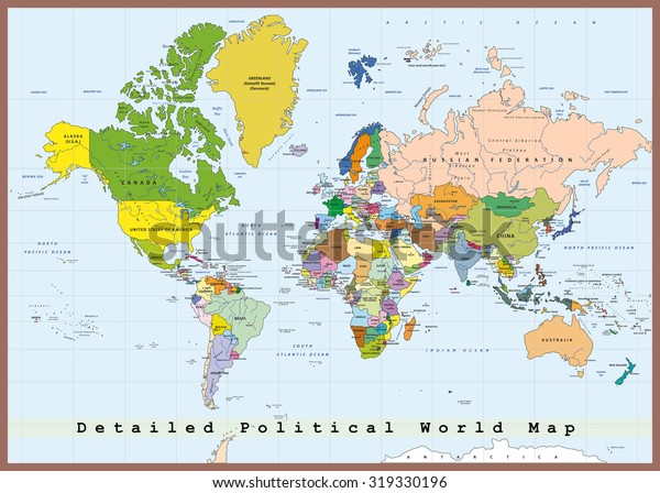 Detailed Political World Map Capitals Rivers Stock Vector (Royalty on