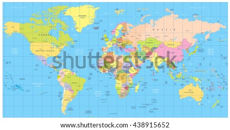 Detailed Political World Map Countries Cities Stock Vector Royalty