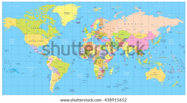 Detailed Political World Map Countries Cities Stock-Vrgrafik ... on