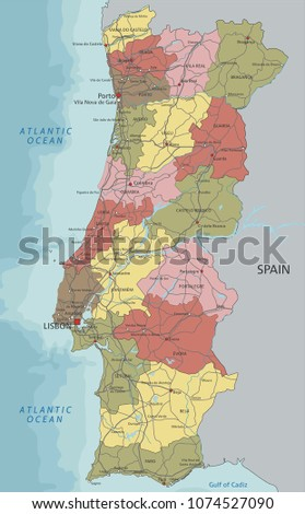Detailed Portugal Political Map Stock Vector Royalty Free