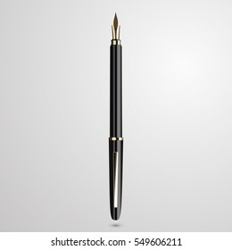 Detailed realistic fountain pen isolated on white background. Vector illustration.