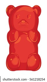 Detailed red gummy bear jelly candy vector illustration raspberry or cherry flavor