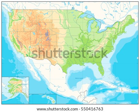 Detailed Relief Map Usa No Text Stock Vector Royalty Free