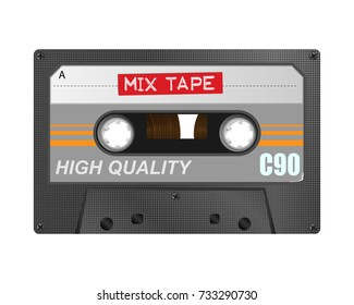 Detailed retro C90 audio cassette with mix tape embossed title