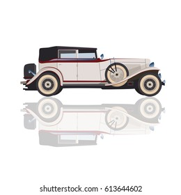 Detailed retro car, vector cadillac for design, isolated white car in realistic style in vector, retro car in details