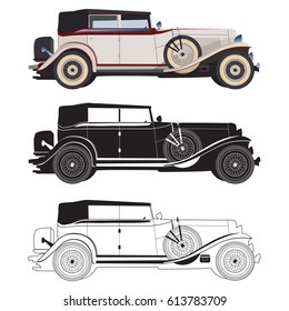 Detailed retro car, vector cadillac for design, isolated black and white car in realistic style in vector, retro car in details