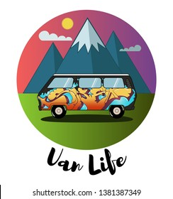 Detailed retro, vintage, travel, camper van, with graffiti and mountains on background. Roud badge of  graffiti vintage van car. Round sticker van life.