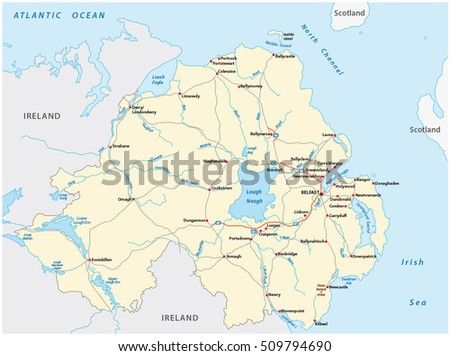Detailed Road Map Of Ireland.Detailed Road Map British Province Northern Stock Vector Royalty