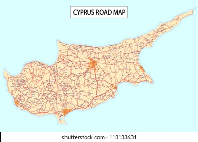 Detailed road map of Cyprus Island with Cities and settlements.