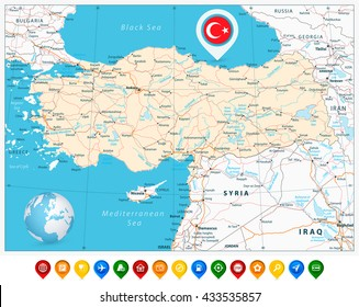 Turkey syria map images stock photos vectors shutterstock detailed road vector map of turkey and colorful map pointers with separated layers gumiabroncs Gallery