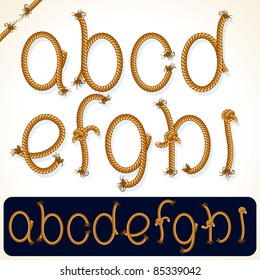 Detailed Rope alphabet for your text or design, set 1