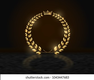 Detailed round golden laurel wreath crown award on dark background with reflection. Gold ring frame logo. Victory, honor achievement, quality product, anniversary. Vector illustration.