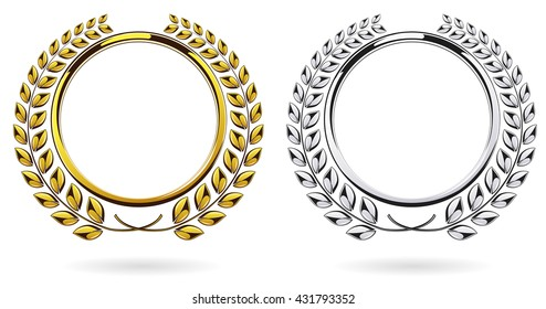 Detailed round silver and golden laurel wreath award set isolated on white background. Gold, platinum ring element logo. Victory, honor achievement, quality product, anniversary. Vector illustration