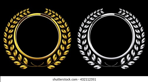 Detailed round silver and golden laurel wreath award set isolated on black background. Gold and platinum ring element for logo. Victory, honor achievement, quality product, anniversary. Vector