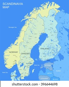 Detailed Scandinavia map Vector political Scandinavia countries map