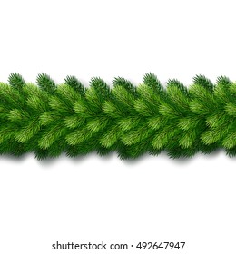 detailed seamless christmas garland of fir branches for greeting card showcase banner website - Green Christmas Garland