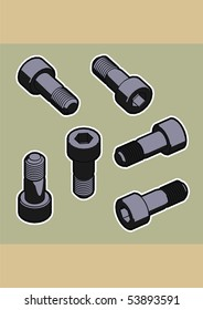 A detailed selection of screws, nuts and bolts. Useful for your flat pack furniture illustrations and diagrams.