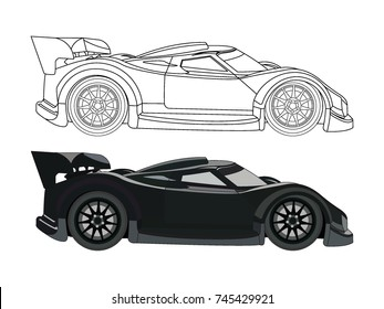 Detailed Side Flat Red Sports Car Stock Vector Royalty Free