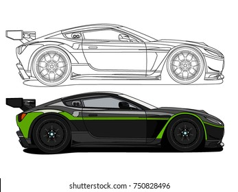 detailed side of a flat black green car cartoon vector with black stroke option for custom able color for kids drawing book