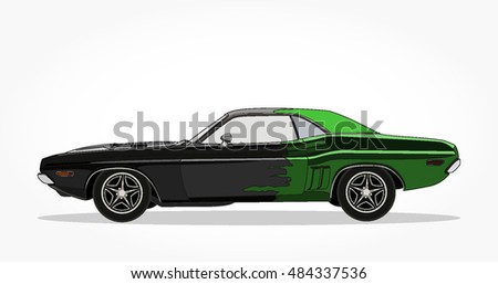 Detailed Side Flat Black Green Muscle Stock Vector Royalty Free