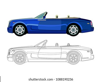 detailed side of a flat blue car cartoon vector with black stroke option for custom able color