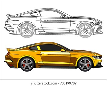 detailed side of a flat bright yellow car cartoon vector with black stroke option for custom able color for kids drawing book