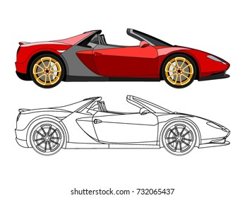 detailed side of a flat red convertible car cartoon vector with black stroke option for custom able color for kids drawing book
