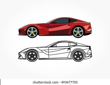 detailed side of a flat red sports car cartoon vector with black stroke option for custom able color for kids drawing book.