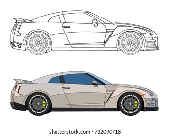 detailed side of a flat white sedan car cartoon vector with black stroke option for custom able color for kids drawing book