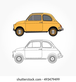 detailed side of a flat yellow classic old car cartoon vector with black stroke option for custom able color for kids drawing book.