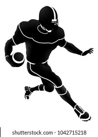 Detailed silhouette American Football player charging