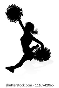Detailed silhouette cheerleader with waving pompoms graphic