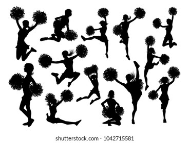 Detailed silhouette cheerleaders with pompoms