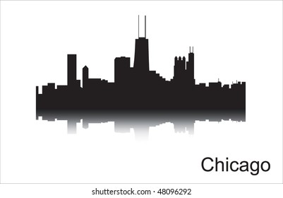 Detailed silhouette of a city of Chicago