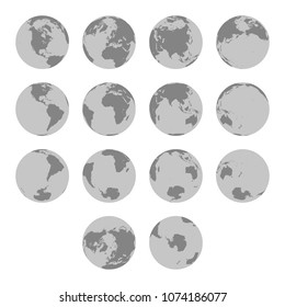 Detailed silhouette maps of planet Earth. Hemispheres maps. World map. North pole / South pole. Europe, Asia, Australia, America, Africa, Antarctica maps. Earth from different perspectives.