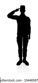Detailed silhouette of military armed forces army soldier