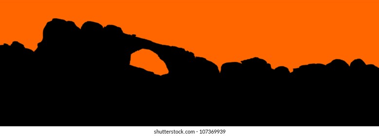 Detailed silhouette outline of the North Window, Arches National Park, USA - panorama.