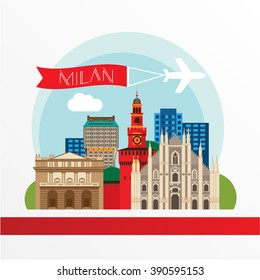 Detailed silhouette. Trendy vector illustration, flat style. Stylish colorful  landmarks. The concept for a web banner. Milan Cathedral and La Scala - The symbol of Milan, Italy