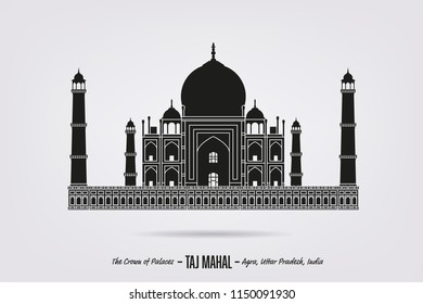 Detailed Silhouette vector of Taj Mahal mausoleum at Agra, India